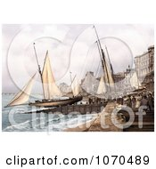 Photochrom Of Yachts And Waterfront Buildings In Hastings Sussex England Royalty Free Historical Stock Photography by JVPD