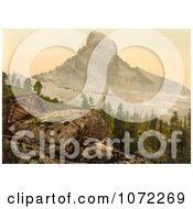 Photochrom Of Zermatt House And Matterhorn Mountain Royalty Free Historical Stock Photography