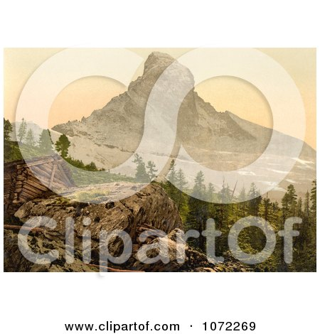 Photochrom of Zermatt House and Matterhorn Mountain - Royalty Free Historical Stock Photography by JVPD