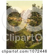 Photochrom Of Zmutt Valley With Mischabelhorner Group Switzerland Royalty Free Historical Stock Photography