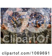 Picture Of Uncle Sam Merged With Soldiers Waving American Flags Royalty Free Historical Stock Image