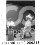 Piegan Indian Mountain Chief And Phonograph Free Historical Stock Photography