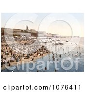 Portable Changing Cabin Carts And Crowds On The Beach In Ramsgate Thanet Kent England Royalty Free Stock Photography