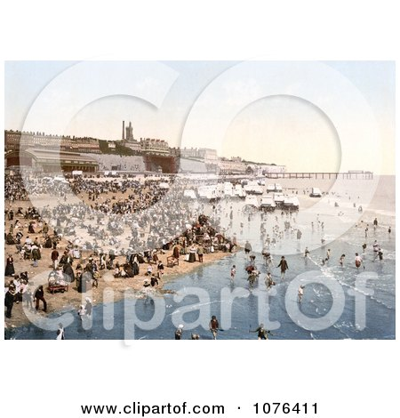 Portable Changing Cabin Carts and Crowds on the Beach in Ramsgate, Thanet, Kent, England - Royalty Free Stock Photography  by JVPD