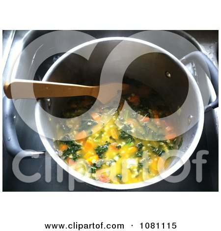 Pot Of Kale And Barley Stew With Carrots - Royalty Free Stock Photography  by Jamers