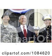 President George W Bush Posing With Wounded Service Members During The Walter Reed National Military Medical Center Ground Breaking Ceremony Held At Bethesda Naval Hospital Free Stock Photography by JVPD