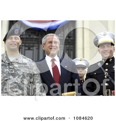 President George W. Bush Posing With Wounded Service Members During The Walter Reed National Military Medical Center Ground Breaking Ceremony Held At Bethesda Naval Hospital - Free Stock Photography by JVPD