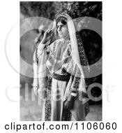 Pretty Ramallah Woman In Black And White Royalty Free Historical Stock Photo by JVPD