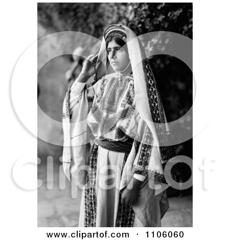Pretty Ramallah Woman In Black And White - Royalty Free Historical Stock Photo by JVPD