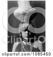 Pueblo San Ildefonso Girl Balancing A Jar On Her Head Free Historical Stock Photography