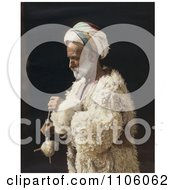 Ramallah Peasant Man Standing And Spinning Wool Royalty Free Historical Stock Photo by JVPD