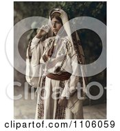 Ramallah Woman Standing In A Traditional Dress Royalty Free Historical Stock Photo