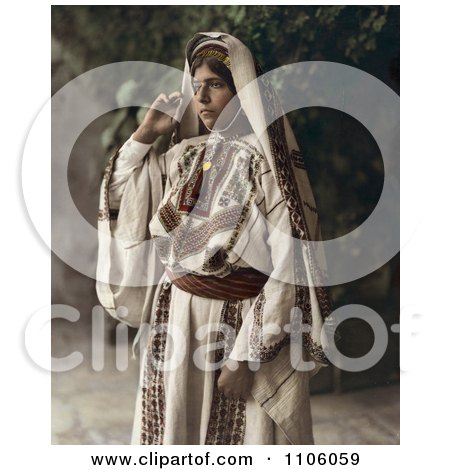 Ramallah Woman Standing In A Traditional Dress - Royalty Free Historical Stock Photo by JVPD