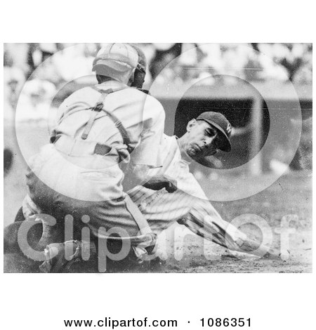 Roger Peckinpaugh Beting Tagged Out at Home Base While Sliding - Free Historical Baseball Stock Photography by JVPD
