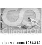 Roger Thorpe Peckinpaugh Sliding Safetly To Second Base Free Historical Baseball Stock Photography