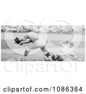 Roger Thorpe Peckinpaugh Sliding Safetly To Third Base During A Baseball Game Free Historical Baseball Stock Photography by JVPD