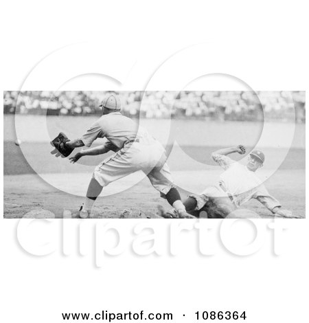 Roger Thorpe Peckinpaugh Sliding Safetly to Third Base During a Baseball Game - Free Historical Baseball Stock Photography by JVPD