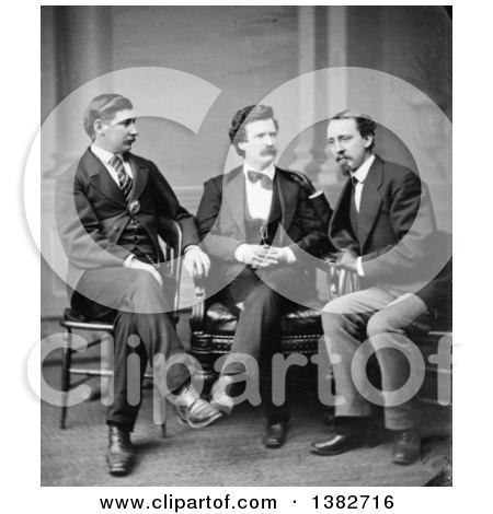 Royalty Free Historical Photo of David Gray, Mark Twain Samuel Langhorne Clemens, and George Alfred Townsend Sitting and Talking by JVPD
