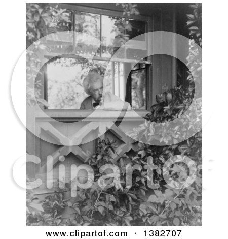 Royalty Free Historical Photo of Mark Twain, Samuel Langhorne Clemens, Looking out a Window into a Garden, 1903 by JVPD