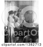 Royalty Free Historical Photo Of Mark Twain Samuel Langhorne Clemens Playing The Piano For His Wife Clara Clemens And Marie Nichols 1908 by JVPD