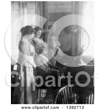 Royalty Free Historical Photo of Mark Twain, Samuel Langhorne Clemens, Playing the Piano for His Wife, Clara Clemens and Marie Nichols, 1908 by JVPD