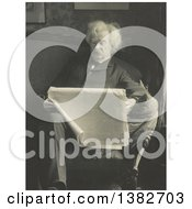 Royalty Free Historical Photo Of Mark Twain Samuel Langhorne Clemens Reading A Newspaper On A Sofa by JVPD