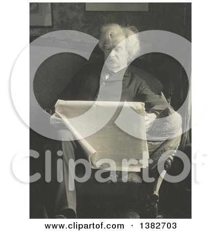 Royalty Free Historical Photo of Mark Twain, Samuel Langhorne Clemens, Reading a Newspaper on a Sofa by JVPD