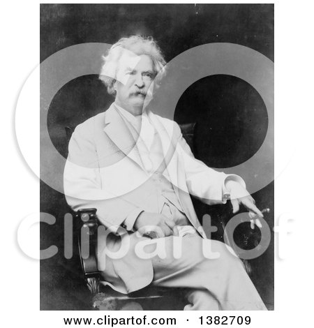 Royalty Free Historical Photo of Mark Twain, Samuel Langhorne Clemens, Sitting in a Chair and Holding a Cigar by JVPD