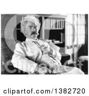 Royalty Free Historical Photo Of Mark Twain Samuel Langhorne Clemens Sitting In A Chair And Holding A Pipe by JVPD