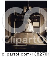 Royalty Free Historical Photo Of Mark Twain Samuel Langhorne Clemens Standing At One End Of A Billiards Pool Table 1908 by JVPD