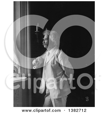 Royalty Free Historical Photo of Mark Twain, Samuel Langhorne Clemens, Stnading and Looking out of a Window by JVPD