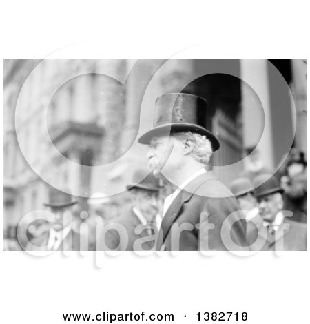 Royalty Free Historical Photo of Mark Twain, Samuel Langhorne Clemens, Wearing a Top Hat in a Crowd by JVPD