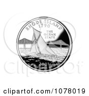 Sailboat By Pell Bridge In Narragansett Bay On The Rhode Island State Quarter Royalty Free Stock Photography by JVPD