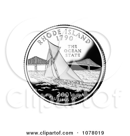 Sailboat by Pell Bridge in Narragansett Bay on the Rhode Island State Quarter - Royalty Free Stock Photography by JVPD