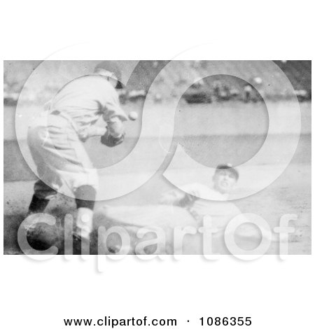 Sam Rice Slding to Third Base During a Baseball Game - Free Historical Baseball Stock Photography by JVPD