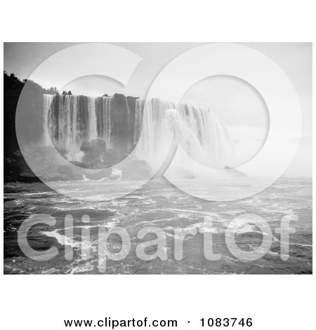 Scene Of Horseshoe Falls, Niagara Falls Rushing Down Over Boulders - Royalty Free Historical Stock Photography by JVPD