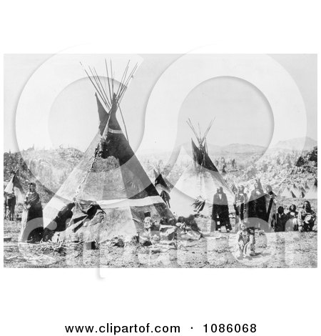Shoshoni Indians With Tepees - Free Historical Stock Photography by JVPD