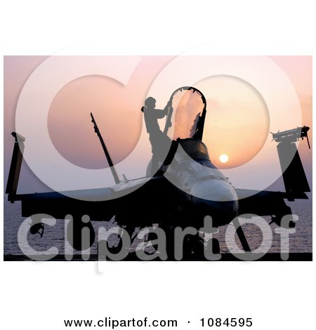 Silhouetted F/A-18C Hornet and Person at Sunset - Free Stock Photography by JVPD
