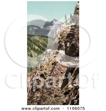 Silverton Toll Road Winding Along The Mountainside, Ouray, Colorado - Royalty Free Historical Stock Photo by JVPD