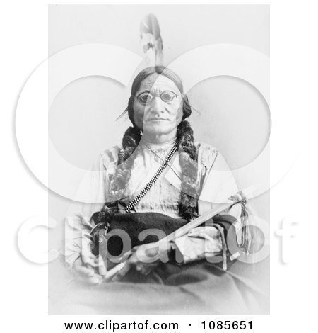Sitting Bull Holding a Calumet - Free Historical Stock Photography by JVPD