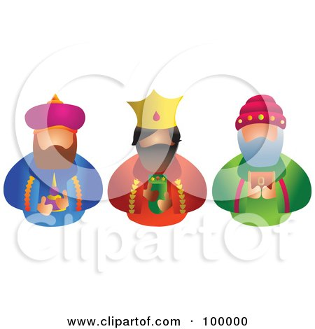 Royalty-Free (RF) Clipart Illustration of The Three Kings Facing Front by Prawny