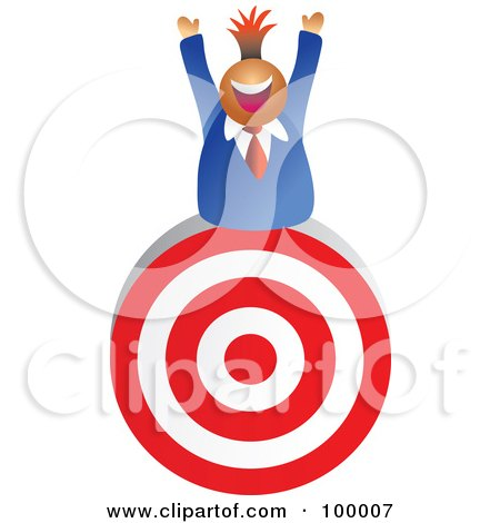 Royalty-Free (RF) Clipart Illustration of a Businessman On Top Of A Target by Prawny