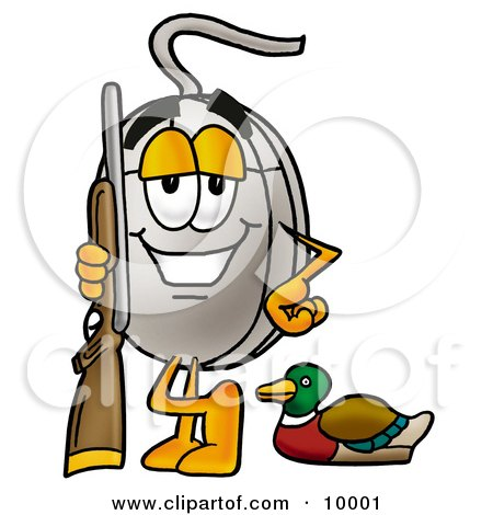 Clipart Picture of a Computer Mouse Mascot Cartoon Character Duck Hunting, Standing With a Rifle and Duck by Toons4Biz