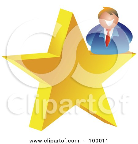 Royalty-Free (RF) Clipart Illustration of a Businessman On A Gold Star by Prawny