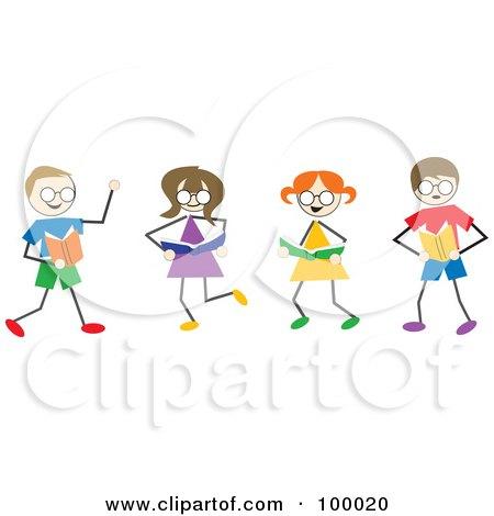 Royalty-Free (RF) Clipart Illustration of Stick Children Reading by Prawny
