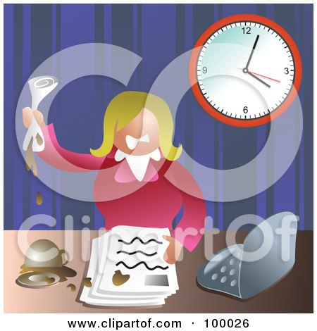 Royalty-Free (RF) Clipart Illustration of a Stressed Business Woman Making A Mess At Her Desk by Prawny
