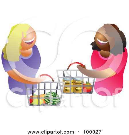 Royalty-Free (RF) Clipart Illustration of Happy Women Carrying A Shopping Basket by Prawny