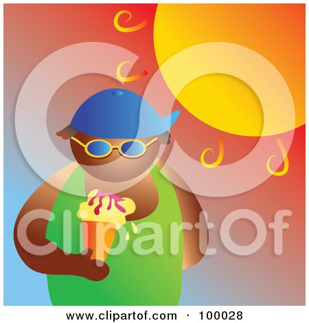 Royalty-Free (RF) Clipart Illustration of a Man Eating An Ice Cream Cone Under The Hot Summer Sun by Prawny