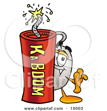 Clipart Picture of a Computer Mouse Mascot Cartoon Character Standing With a Lit Stick of Dynamite by Toons4Biz