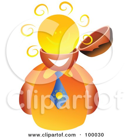 Royalty-Free (RF) Clipart Illustration of a Businessman With A Sun Brain by Prawny